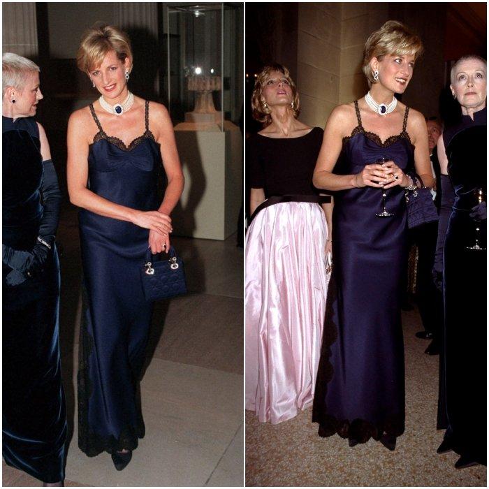 Принцесса Диана в вечернем длинном платье с бретельами и ружевом
