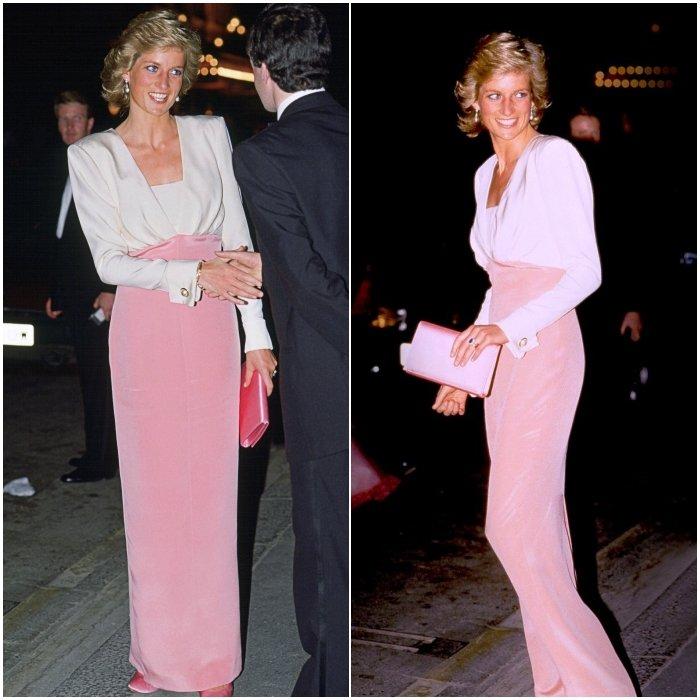 Принцесса Диана выглядит неотразимо в узком платье с розовой длинной юбкой и белым верхом