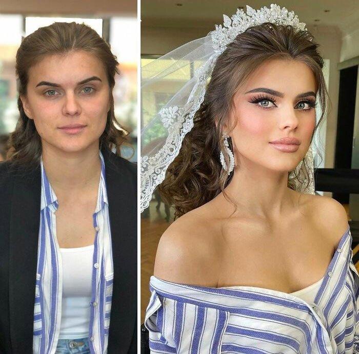 Девушка с красивым свадебным макияжем с яркими глазами