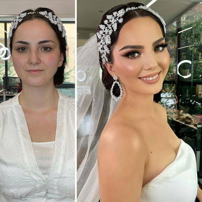 Девушка с красивым свадебным макияжем со стрелками на глазах