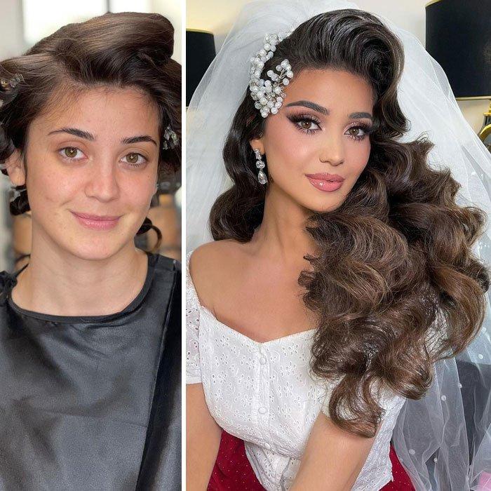 Девушка с выразительным макияжем и пышными локонами на натуральных волосах