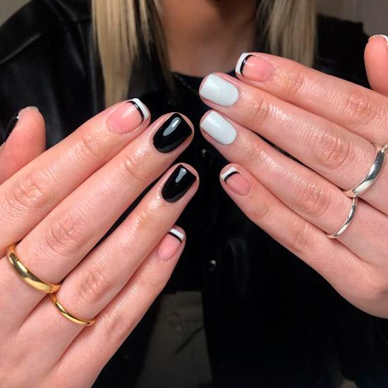 Глянцевый черно белый маникюр на коротких квадратных ногтях
