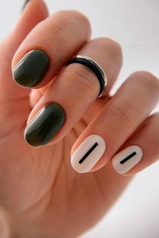 Минималистичный дизайн на ухоженных овальных ногтях