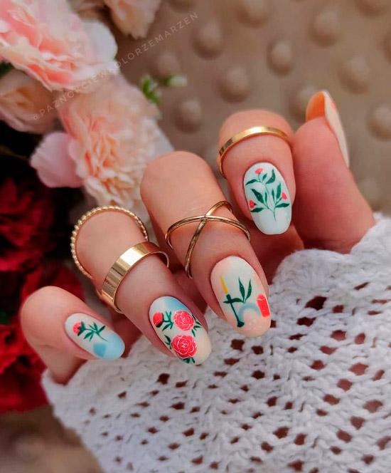 Красивая художественная роспись на овальных ногтях