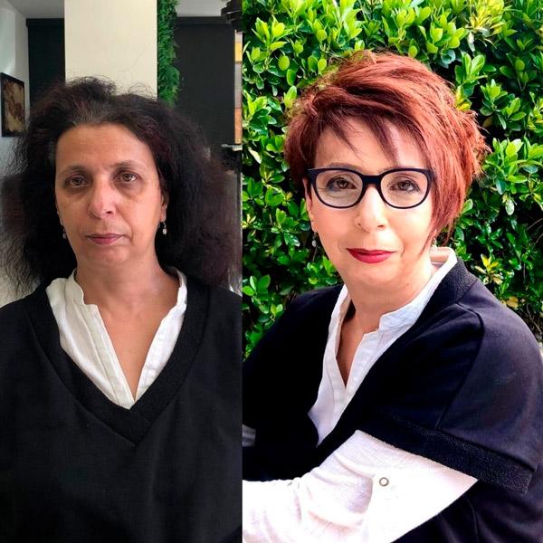 Пикси с длинной асимметричной челкой для женщин в возрасте и очках