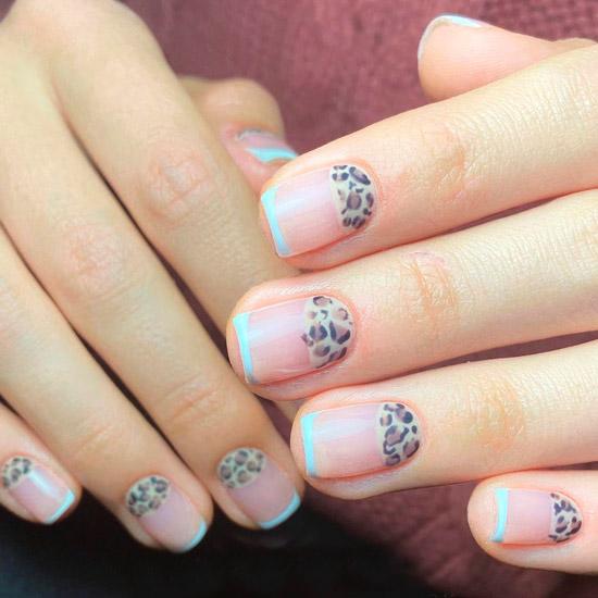 Леопардовый лунный маникюр и голубой френч на квадратных ногтях