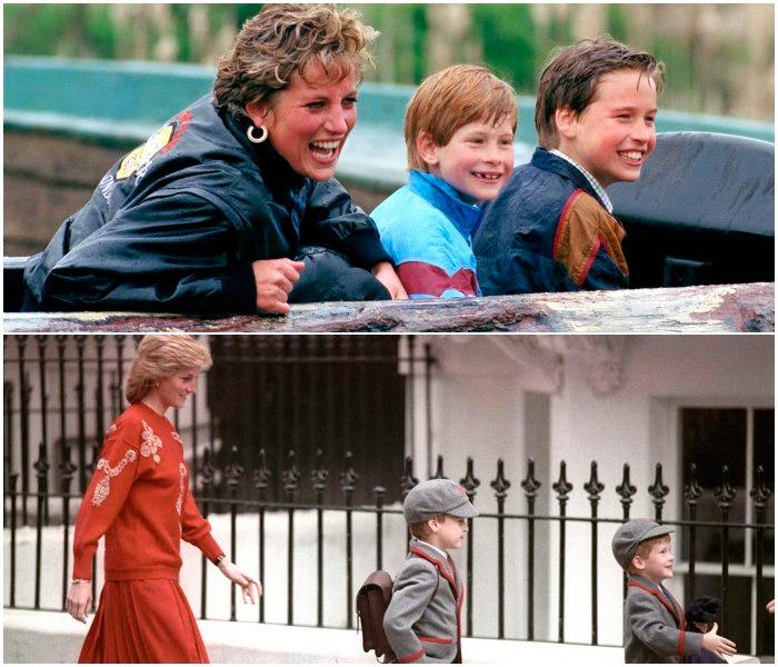 Принцесса Диана на прогулке со своими сыновьями
