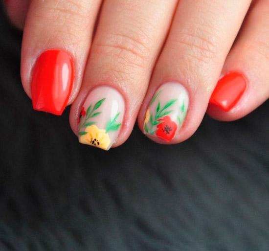 Яркий маникюр с цветами на квадратных ногтях