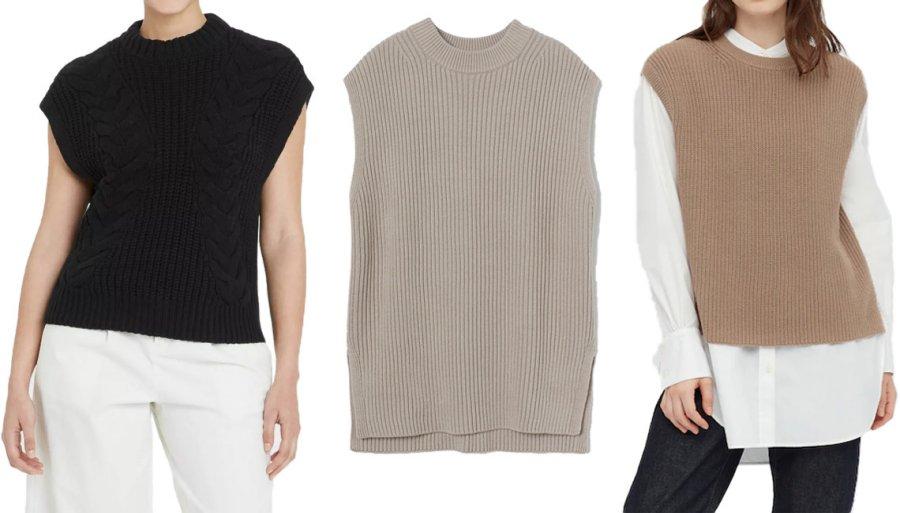 Модные модели вязаных жилетов на осень
