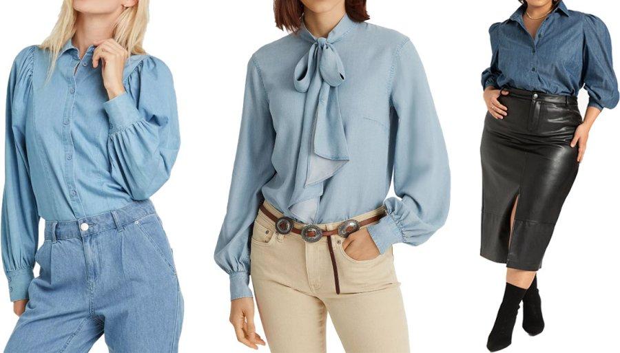 Модные модели голубых рубашек на осень с длинными рукавами