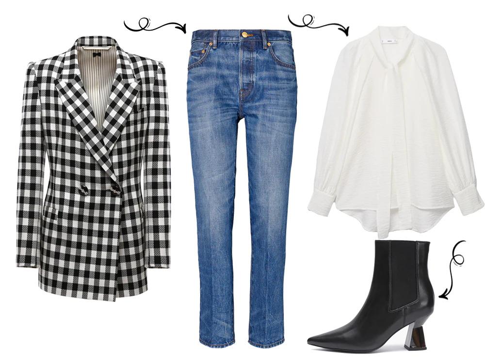 Черно белый пиджак и зауженные джинсы