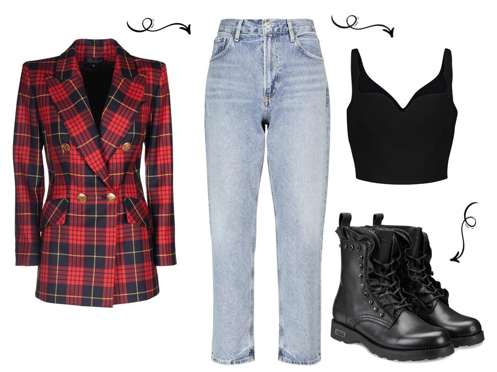 Красный пиджак и черные ботинки