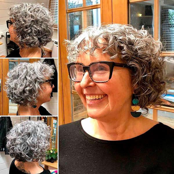 Стрижка боб с челкой и кудрявыми волосами для пожилых женщин