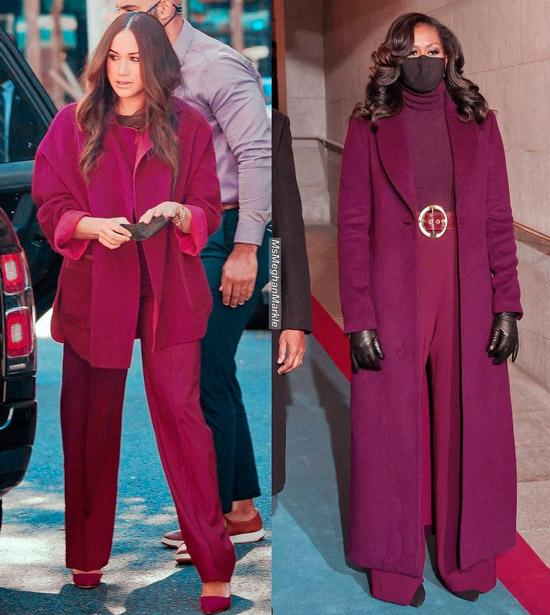 Меган Маркл в свободных бордовых брюках и пальто оверсайз