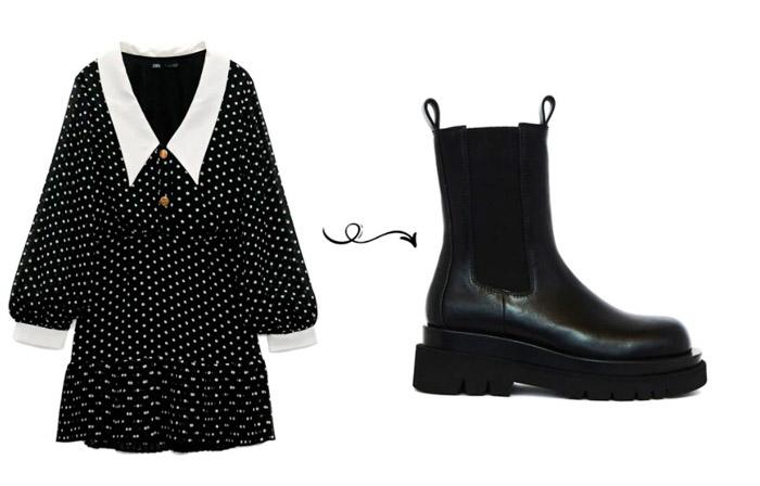 Черное мини платье и ботинки на толстой подошве