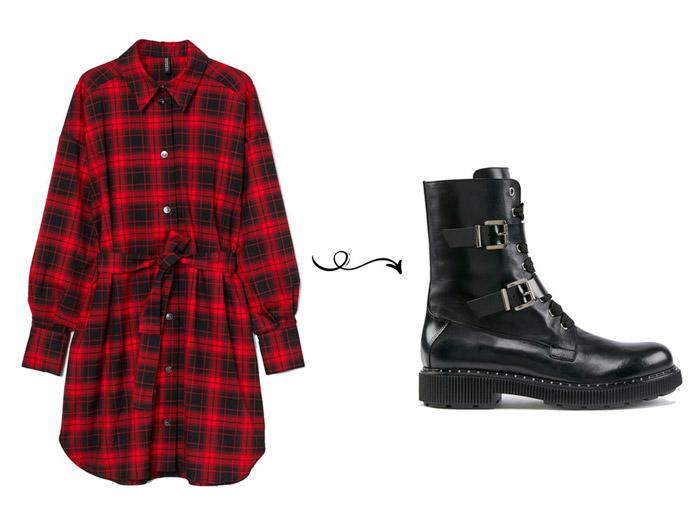 Красное платье рубашка с черными ботинками