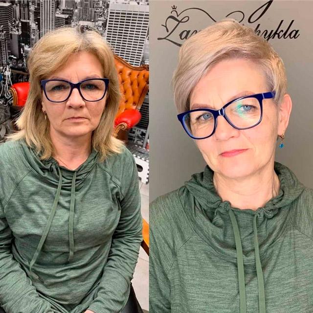 Омолаживающая стрижка для женщин в очках