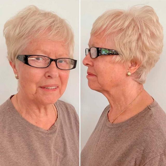 Стильная короткая прическа для женщин в очках
