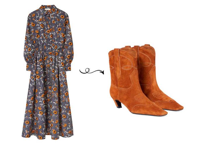 Темное платье с цветочным принтом и коричневые замшевые сапоги