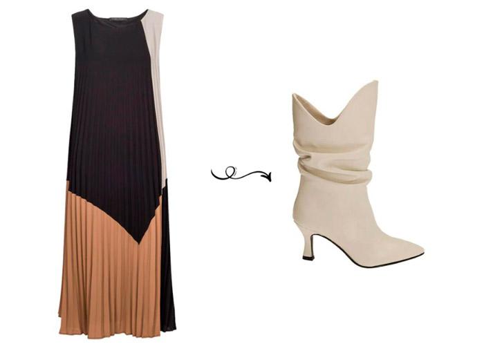 Темное плиссированное платье и белые сапоги