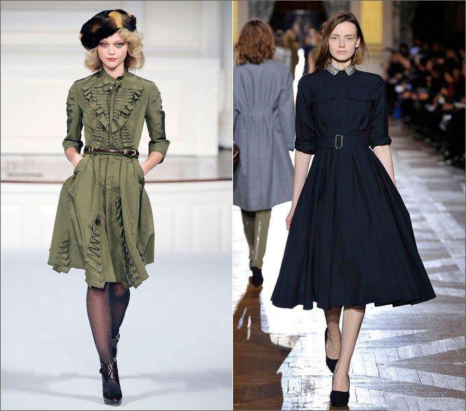 Девушки в платьях от Dries Van Noten Oscar de la Renta в стиле Нью Лук
