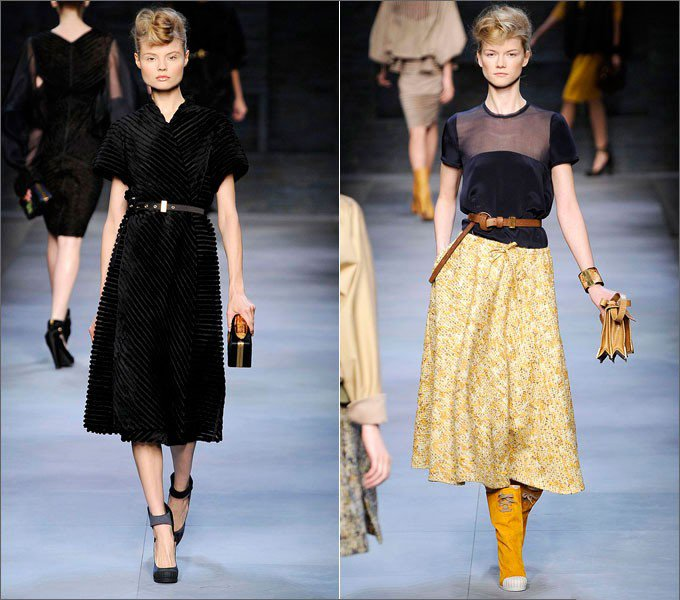 Девушка в платье и девушка в юбке от Fendi в стиле Нью Лук