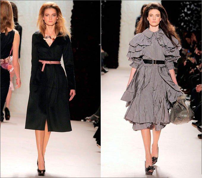 Девушки в черном и сером платьях в стиле Нью Лук от Nina Ricci