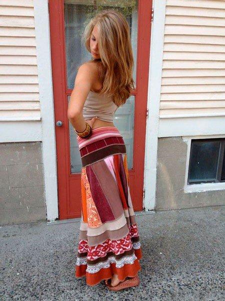 Разноцветная юбка в стиле бохо