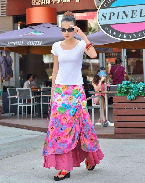Розовая юбка в стиле бохо в цветочек
