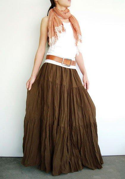 Пышная юбка в стиле бохо, цвета хаки