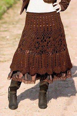 Плетенная юбка в стиле бохо, коричневого цвета