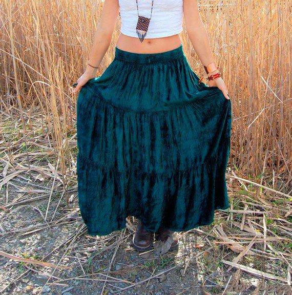 Изумрудная юбка в стиле бохо