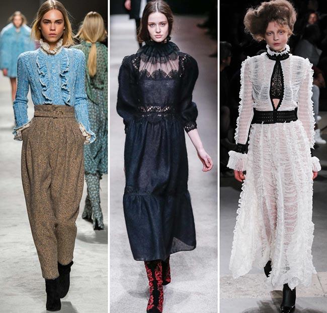Девушке в одежде в стиле Викторианской и Эдвардианской эпохи - тенденции моды сезона осень/зима 2015-2016