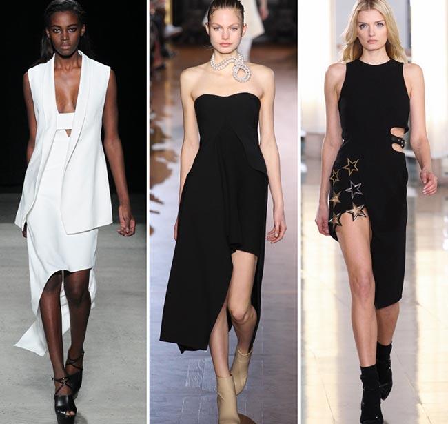 Девушки в ассиметричных платьях - тенденции моды сезона осень/зима 2015-2016