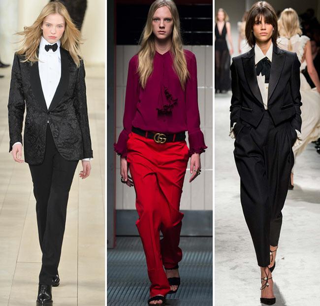 Девушки в мужских брюках и пиджаках - тенденции моды сезона осень/зима 2015-2016