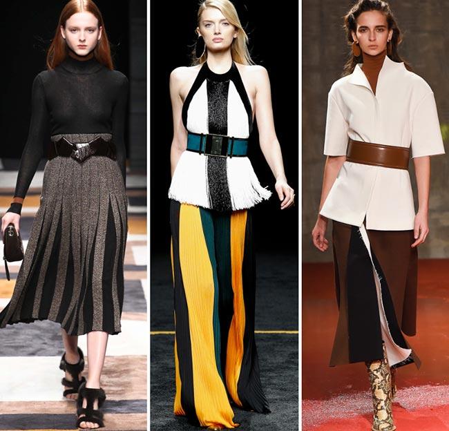 Девушки в образах с широкими ремнями - тенденции моды сезона осень/зима 2015-2016