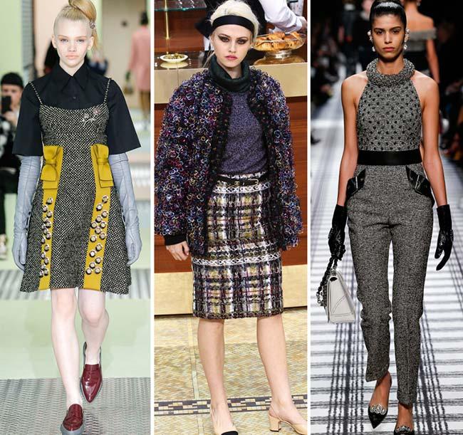 Девушки в одежде из твида - тенденции моды сезона осень/зима 2015-2016