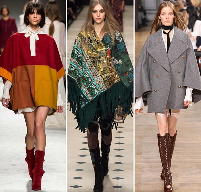 Девушки в пальто в форме пончо - тенденции моды сезона осень/зима 2015-2016
