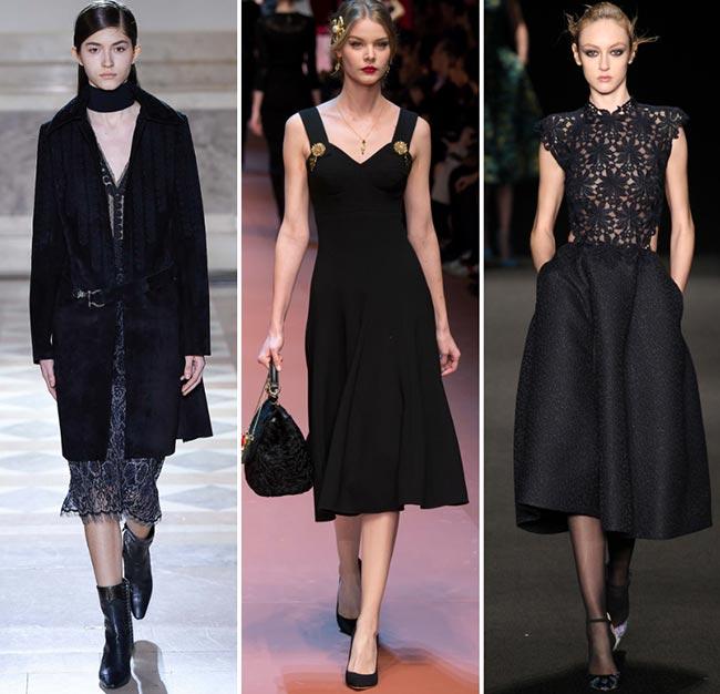 Девушки в платьях миди - тенденции моды сезона осень/зима 2015-2016