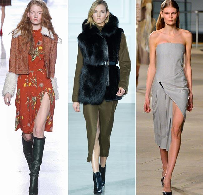 Девушки в платьях с длинными раззрезами - тенденции моды сезона осень/зима 2015-2016