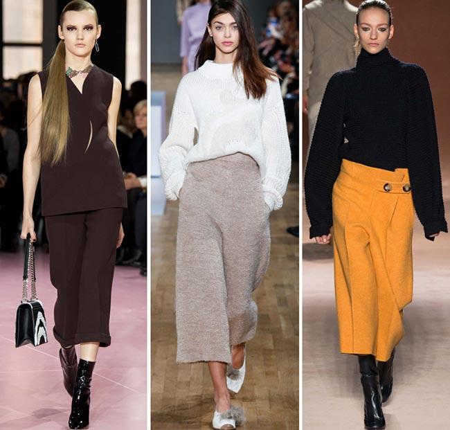 Девушки в широких брюках-юбках - тенденции моды сезона осень/зима 2015-2016