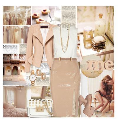 Длинная бежевая юбка-карандаш, бежевый жакет, белый топ и аксессуары