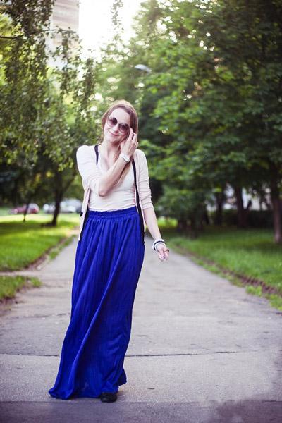 Синяя Юбка Черная Блузка