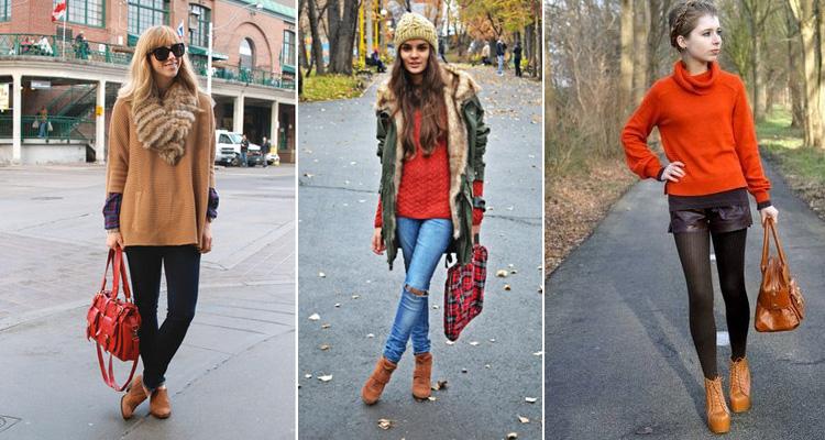 Что носят с рыжими ботинками