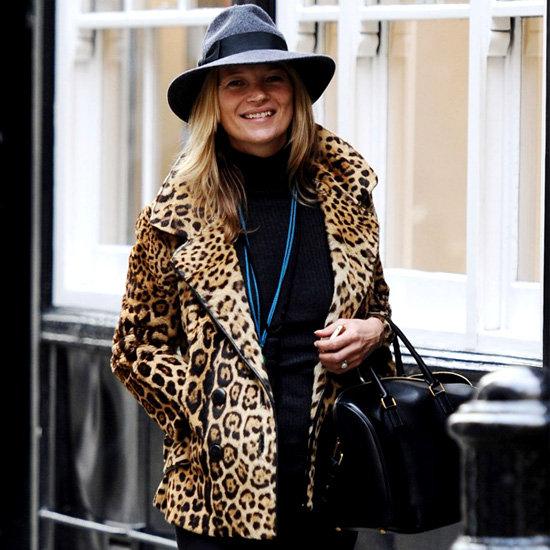 Кейт Мосс в леопардовом пальто