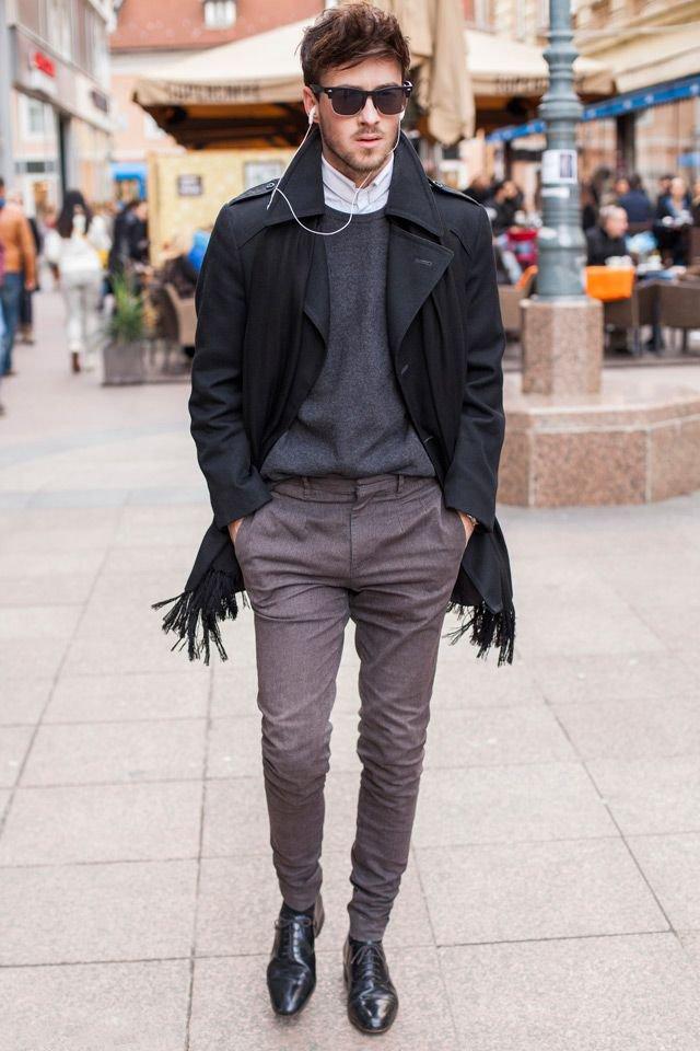 С чем носить серое мужское пальто фото